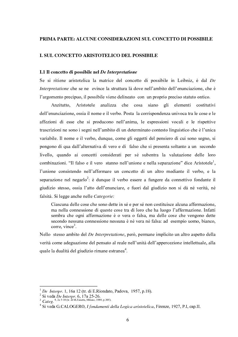 Anteprima della tesi: Il concetto di possibile in Leibniz, Pagina 6