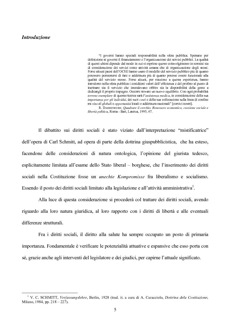 Anteprima della tesi: I diritti sociali nel settore sanitario, Pagina 1