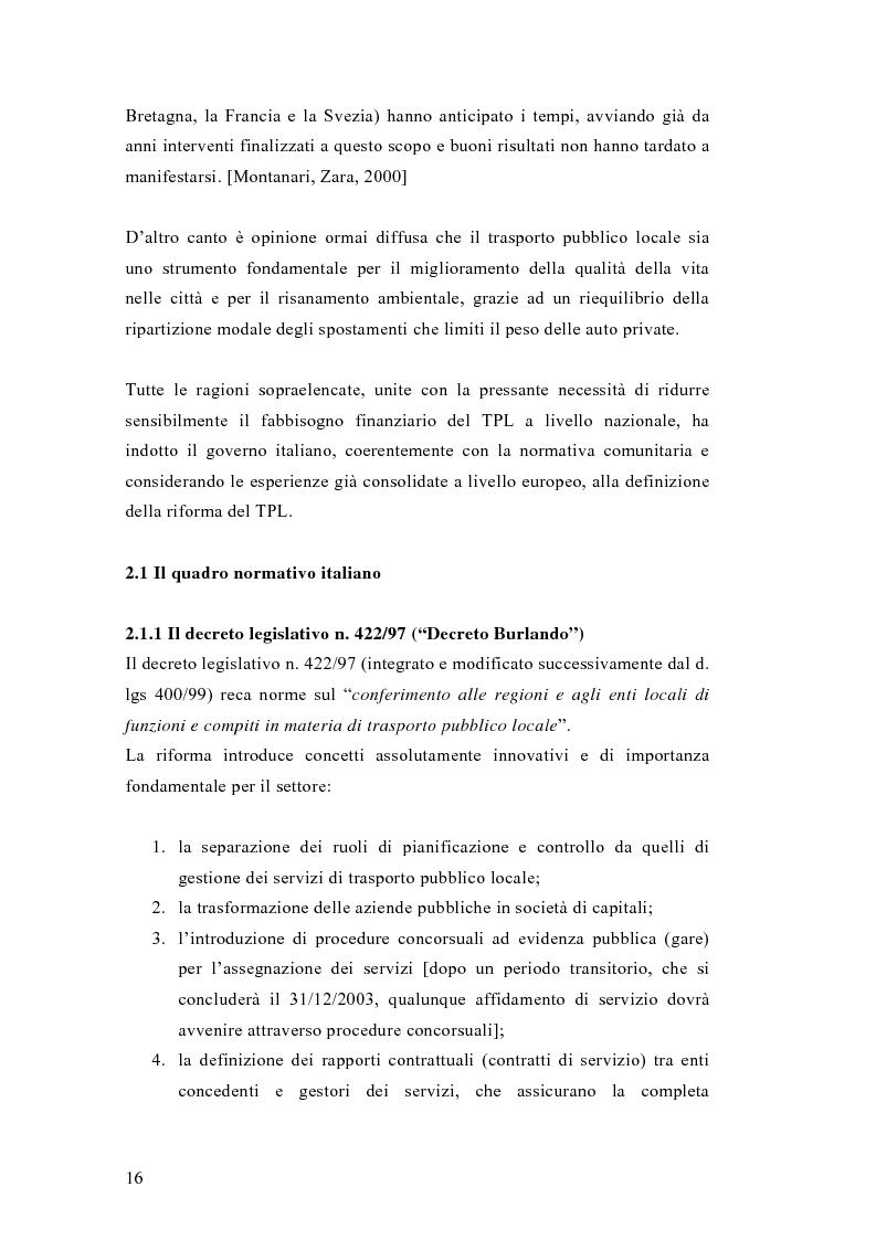 Anteprima della tesi: Liberalizzazione del mercato e cambiamento strategico ed organizzativo nel settore del trasporto pubblico locale, Pagina 11