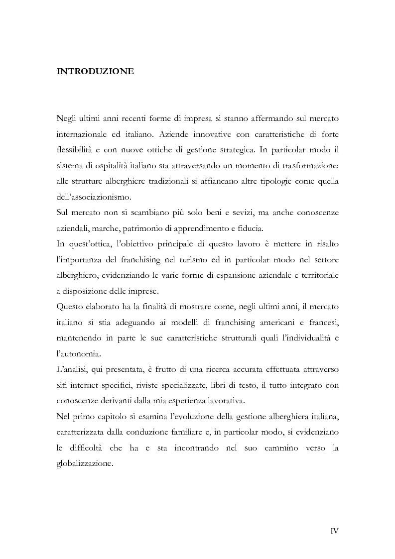 Anteprima della tesi: Il franchising nel turismo ed in particolare nel settore alberghiero: strategie aziendali e politiche di incentivazione, Pagina 1