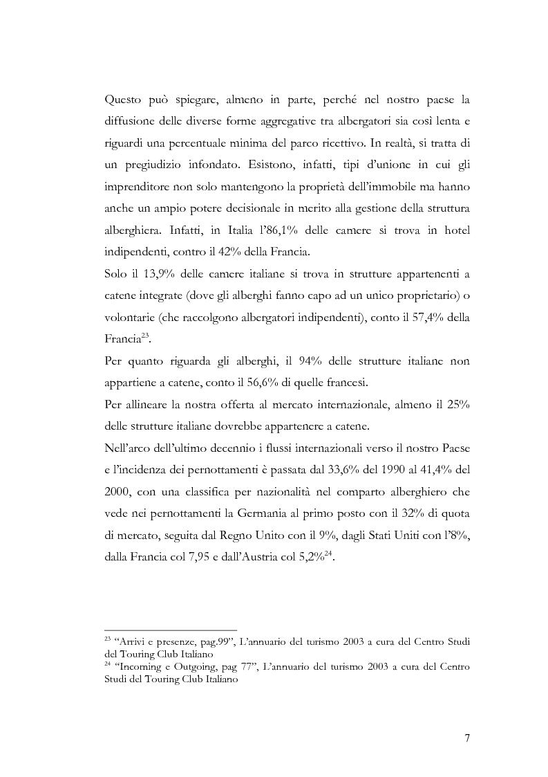 Anteprima della tesi: Il franchising nel turismo ed in particolare nel settore alberghiero: strategie aziendali e politiche di incentivazione, Pagina 11