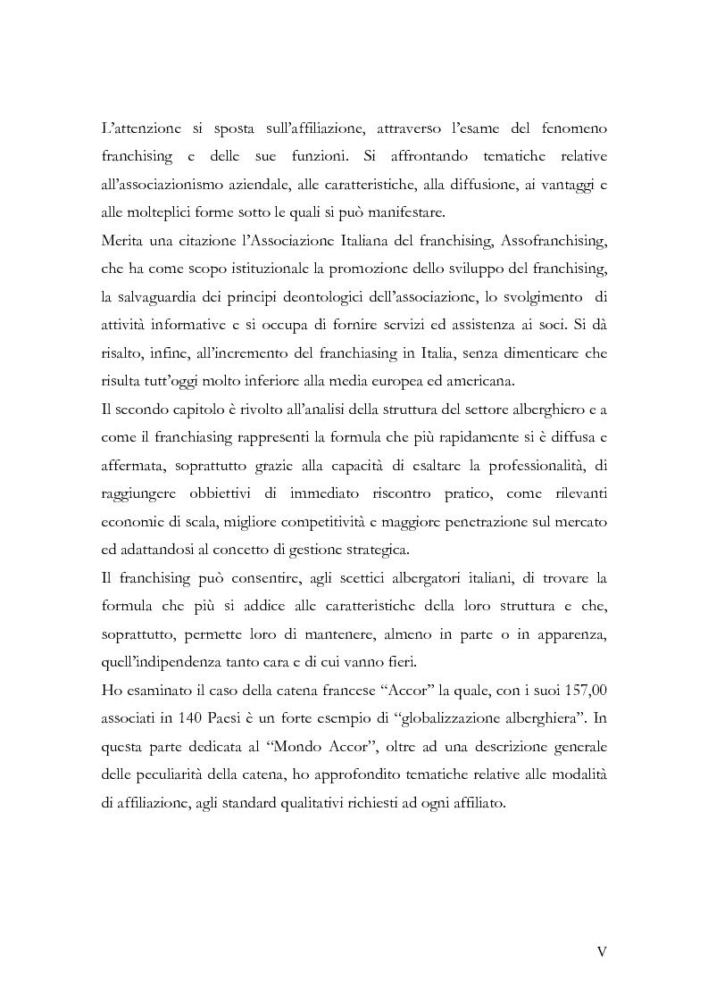 Anteprima della tesi: Il franchising nel turismo ed in particolare nel settore alberghiero: strategie aziendali e politiche di incentivazione, Pagina 2
