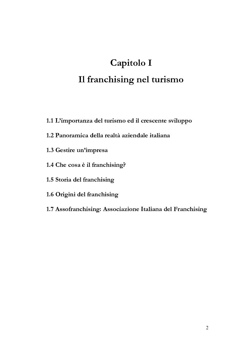 Anteprima della tesi: Il franchising nel turismo ed in particolare nel settore alberghiero: strategie aziendali e politiche di incentivazione, Pagina 6