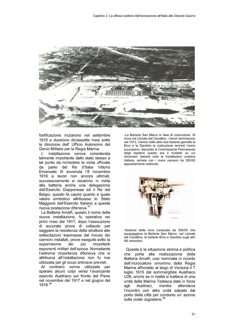 Anteprima della tesi: La Batteria Amalfi e le difese costiere di Venezia, Pagina 6