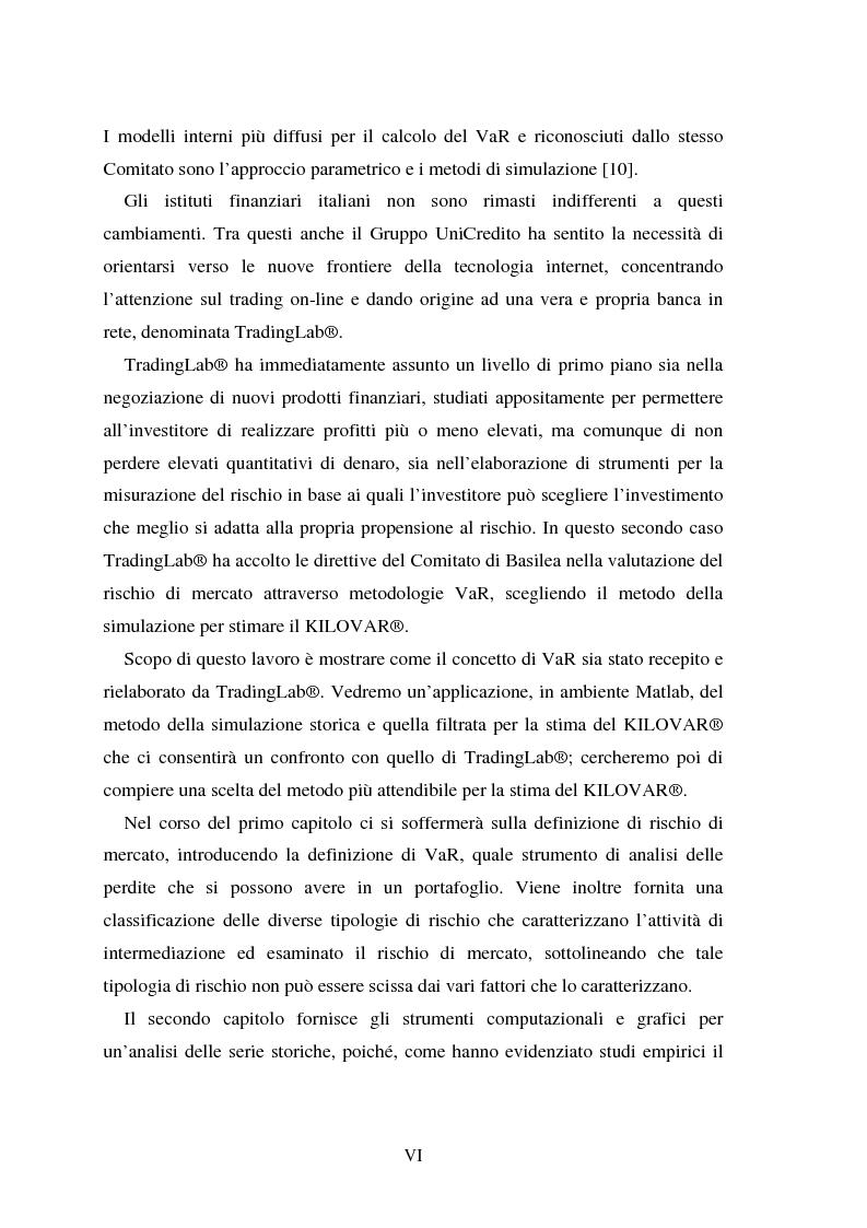 Anteprima della tesi: Metodi di simulazione storica per il calcolo del KiloVaR, Pagina 3