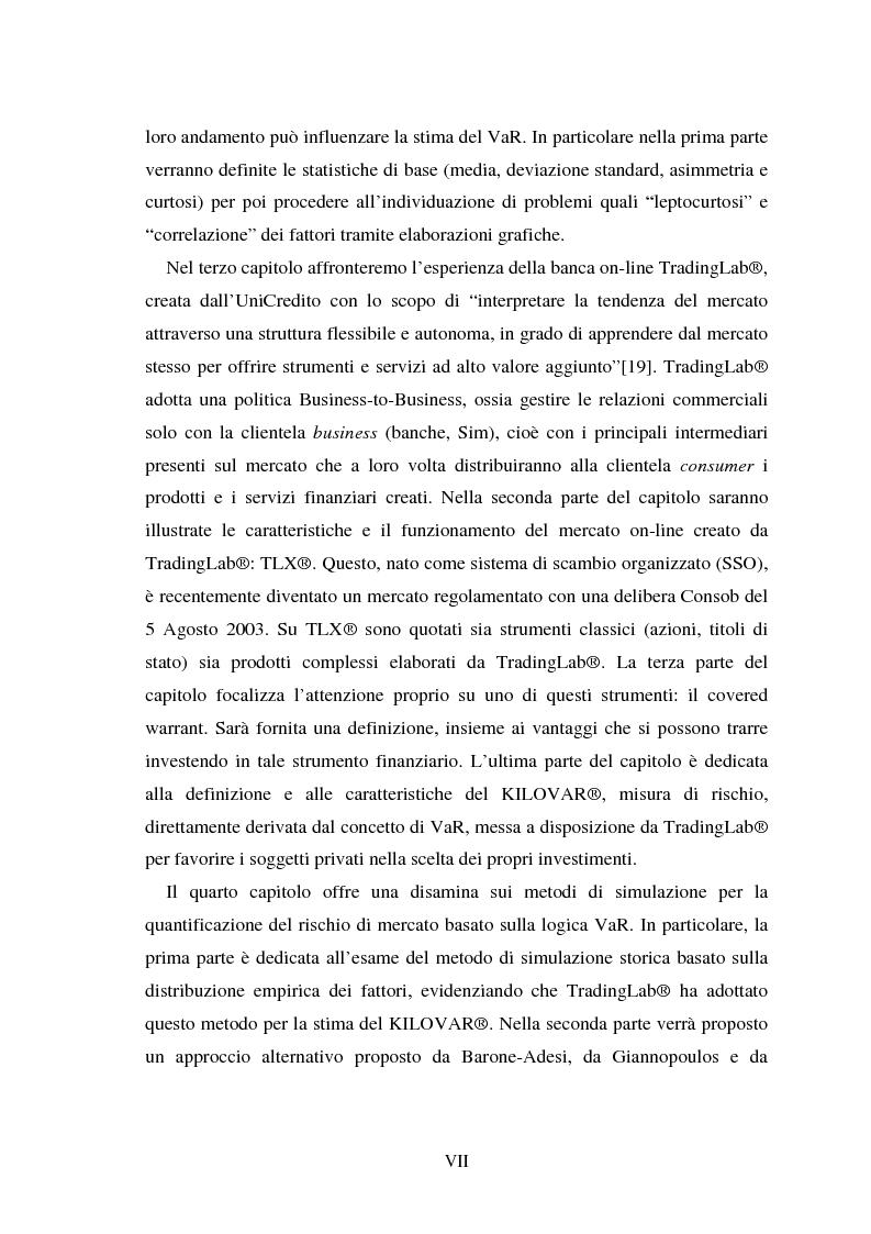 Anteprima della tesi: Metodi di simulazione storica per il calcolo del KiloVaR, Pagina 4