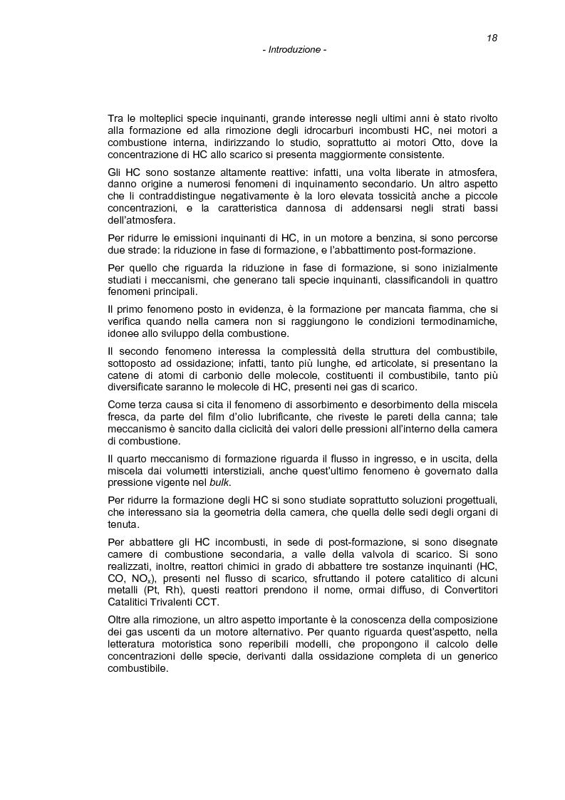 Anteprima della tesi: Il processo di combustione nei motori alternativi: sviluppo di procedure per lo studio delle emissioni di idrocarburi incombusti, Pagina 15