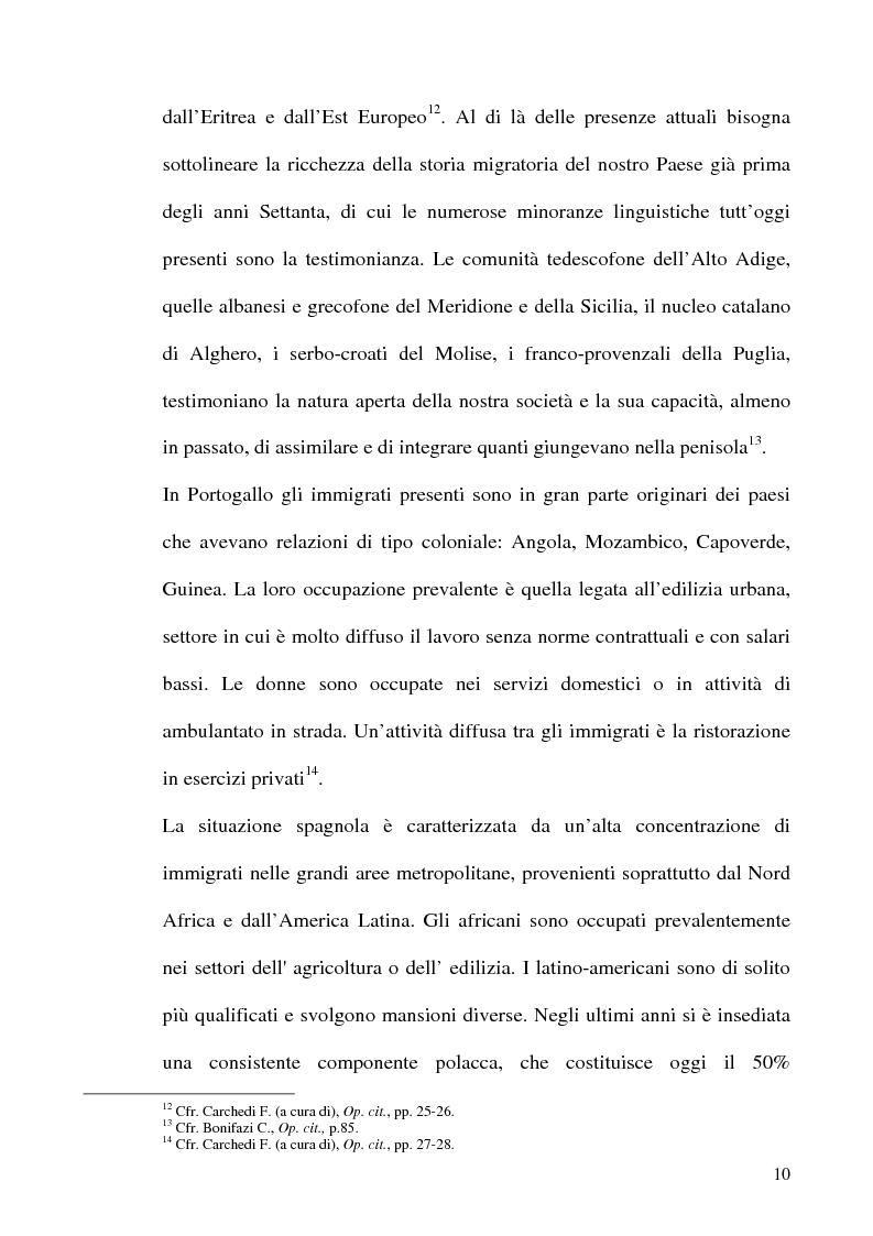 Anteprima della tesi: Immigrazione e formazione: i percorsi di inserimento professionale degli immigrati nell'area romana, Pagina 10