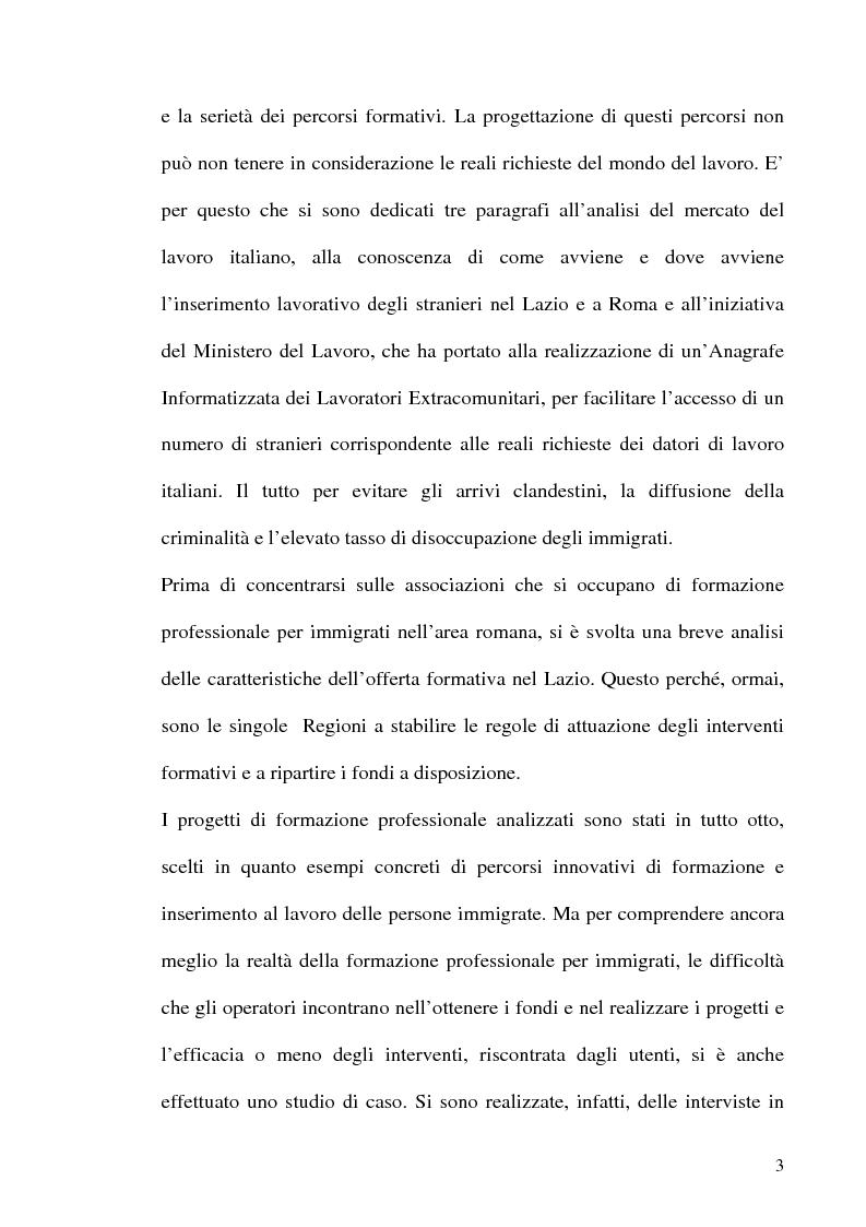 Anteprima della tesi: Immigrazione e formazione: i percorsi di inserimento professionale degli immigrati nell'area romana, Pagina 3