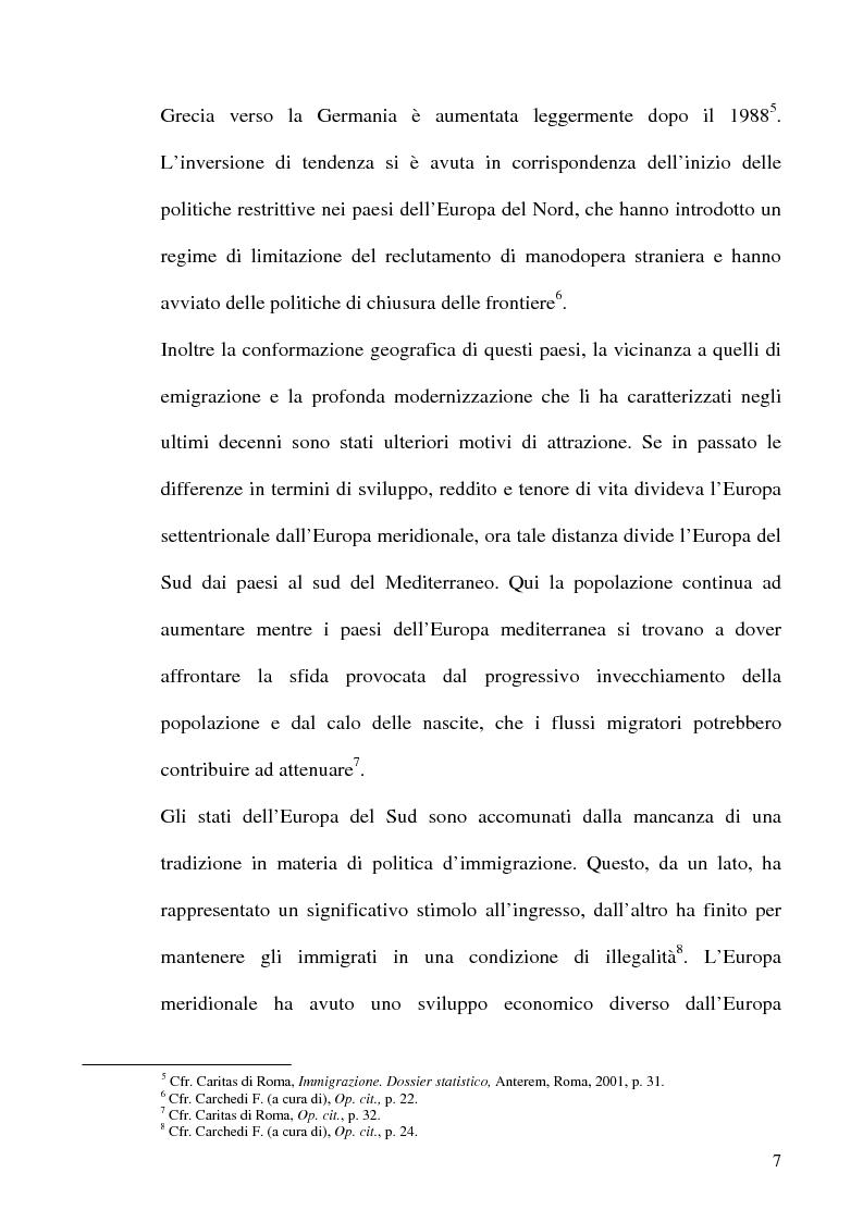 Anteprima della tesi: Immigrazione e formazione: i percorsi di inserimento professionale degli immigrati nell'area romana, Pagina 7