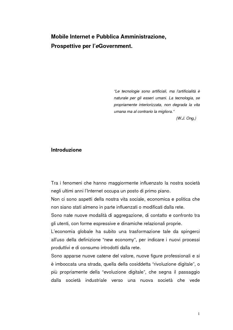 Anteprima della tesi: Mobile Internet e Pubblica Amministrazione, prospettive per l'eGovernment, Pagina 1