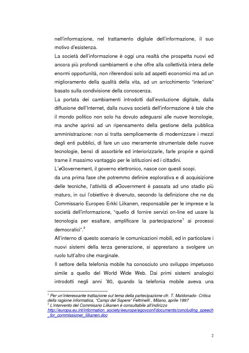 Anteprima della tesi: Mobile Internet e Pubblica Amministrazione, prospettive per l'eGovernment, Pagina 2