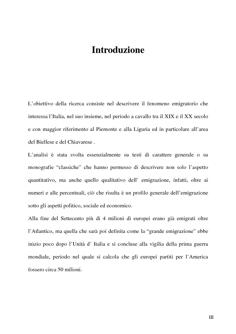 Anteprima della tesi: L'emigrazione italiana dal 1861 alla prima guerra mondiale. I casi del Biellese e del Chiavarese, Pagina 1