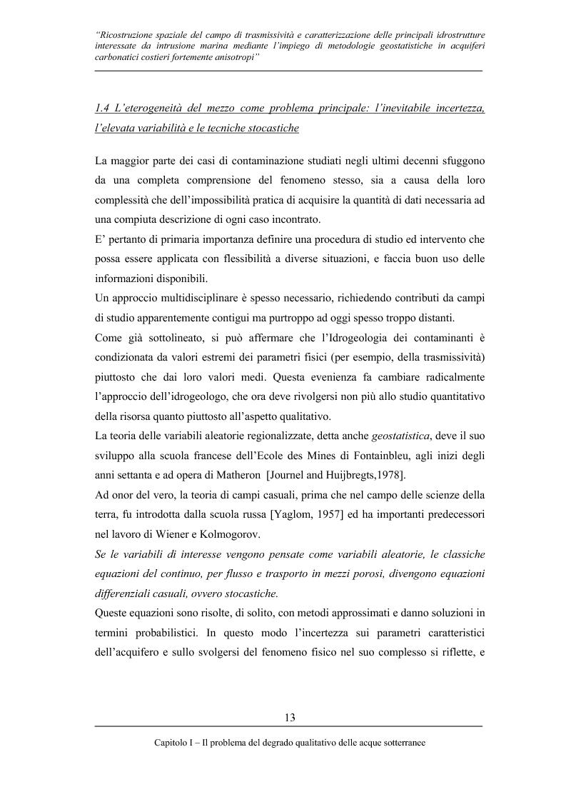 Anteprima della tesi: Ricostruzione spaziale delle principali idrostrutture interessate da intrusione marina mediante metodologie geostatistiche in acquiferi carsici costieri fortemente anisotropi, Pagina 10