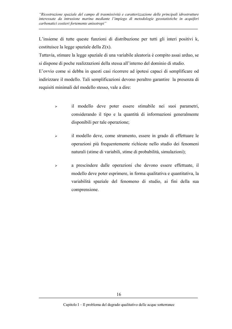 Anteprima della tesi: Ricostruzione spaziale delle principali idrostrutture interessate da intrusione marina mediante metodologie geostatistiche in acquiferi carsici costieri fortemente anisotropi, Pagina 13