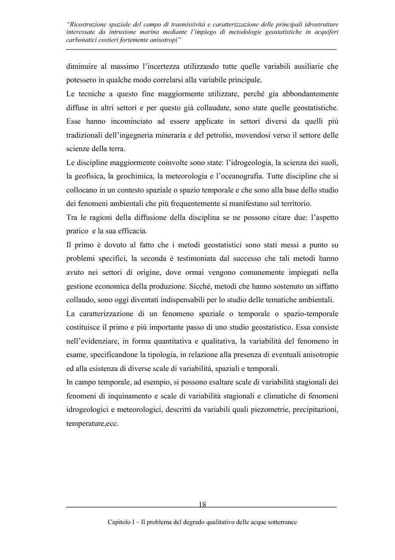 Anteprima della tesi: Ricostruzione spaziale delle principali idrostrutture interessate da intrusione marina mediante metodologie geostatistiche in acquiferi carsici costieri fortemente anisotropi, Pagina 15