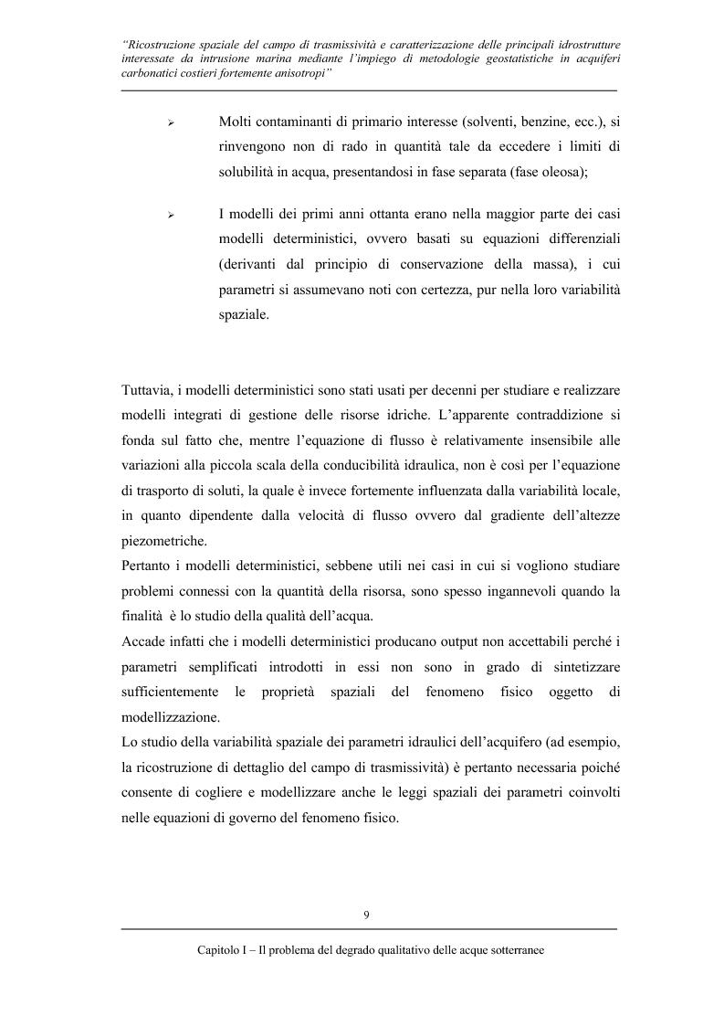 Anteprima della tesi: Ricostruzione spaziale delle principali idrostrutture interessate da intrusione marina mediante metodologie geostatistiche in acquiferi carsici costieri fortemente anisotropi, Pagina 6