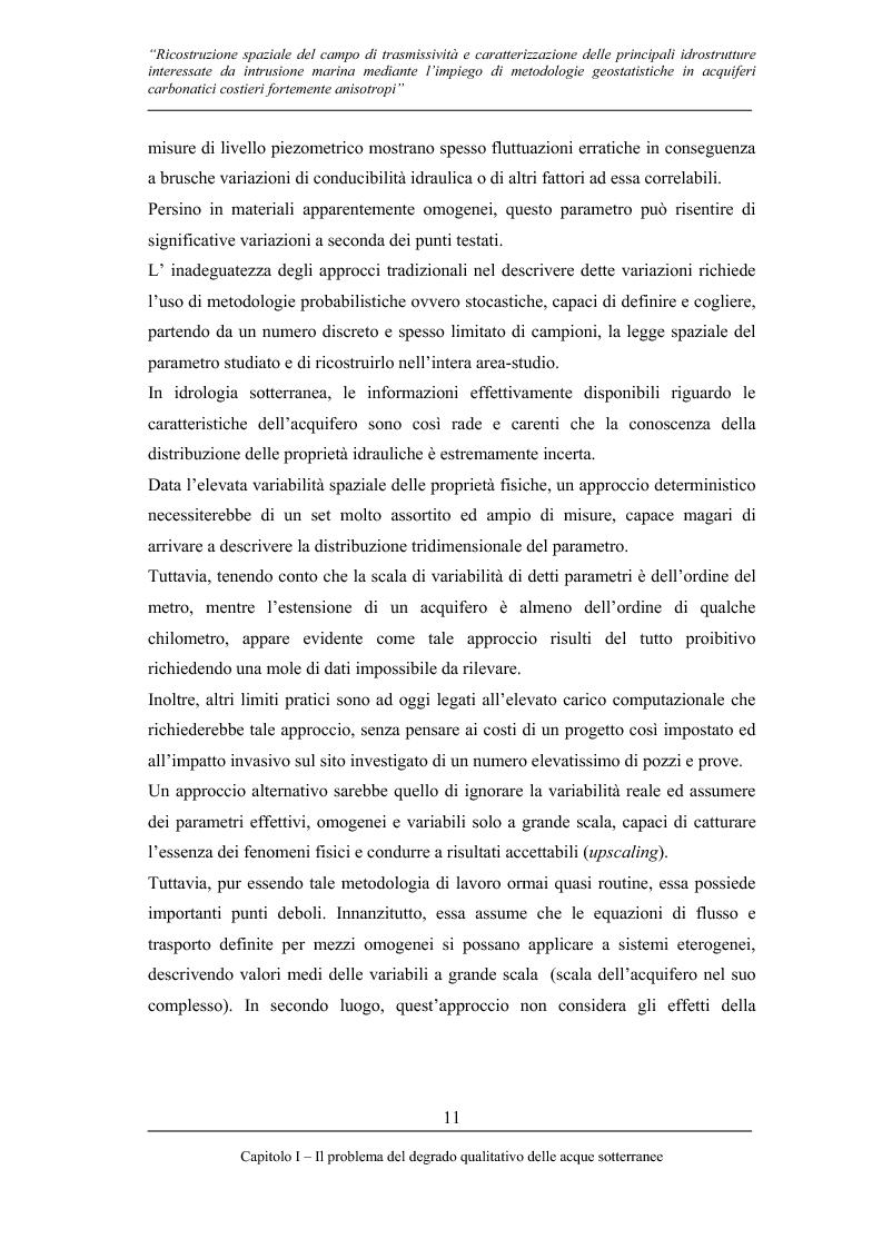 Anteprima della tesi: Ricostruzione spaziale delle principali idrostrutture interessate da intrusione marina mediante metodologie geostatistiche in acquiferi carsici costieri fortemente anisotropi, Pagina 8
