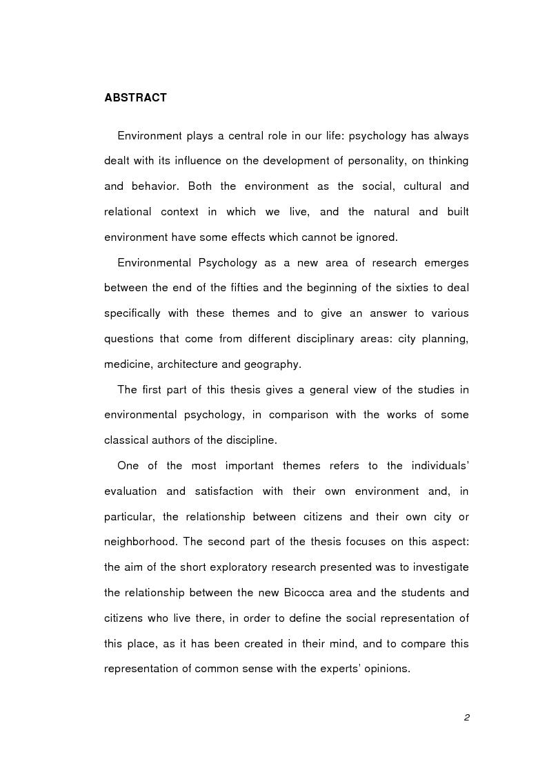 Anteprima della tesi: Psicologia ambientale e progetto Bicocca, Pagina 2