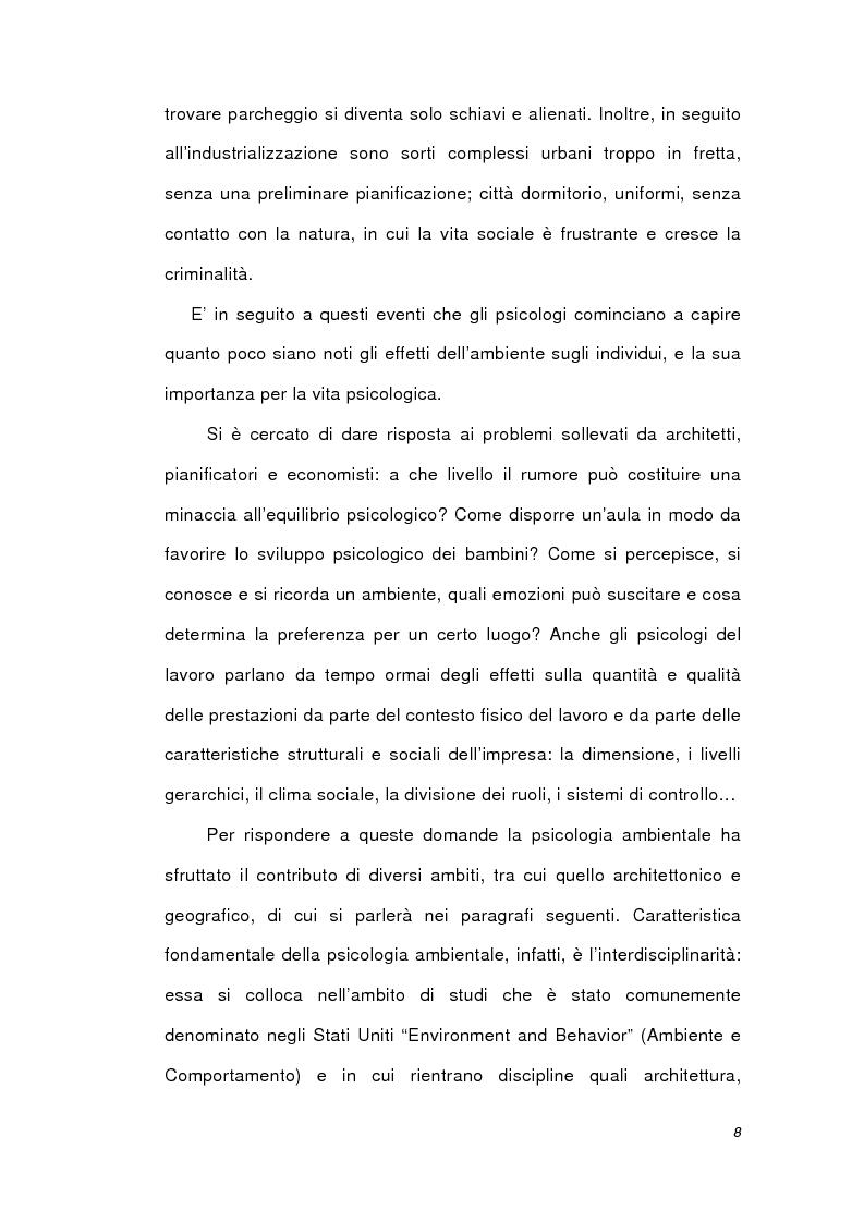Anteprima della tesi: Psicologia ambientale e progetto Bicocca, Pagina 8