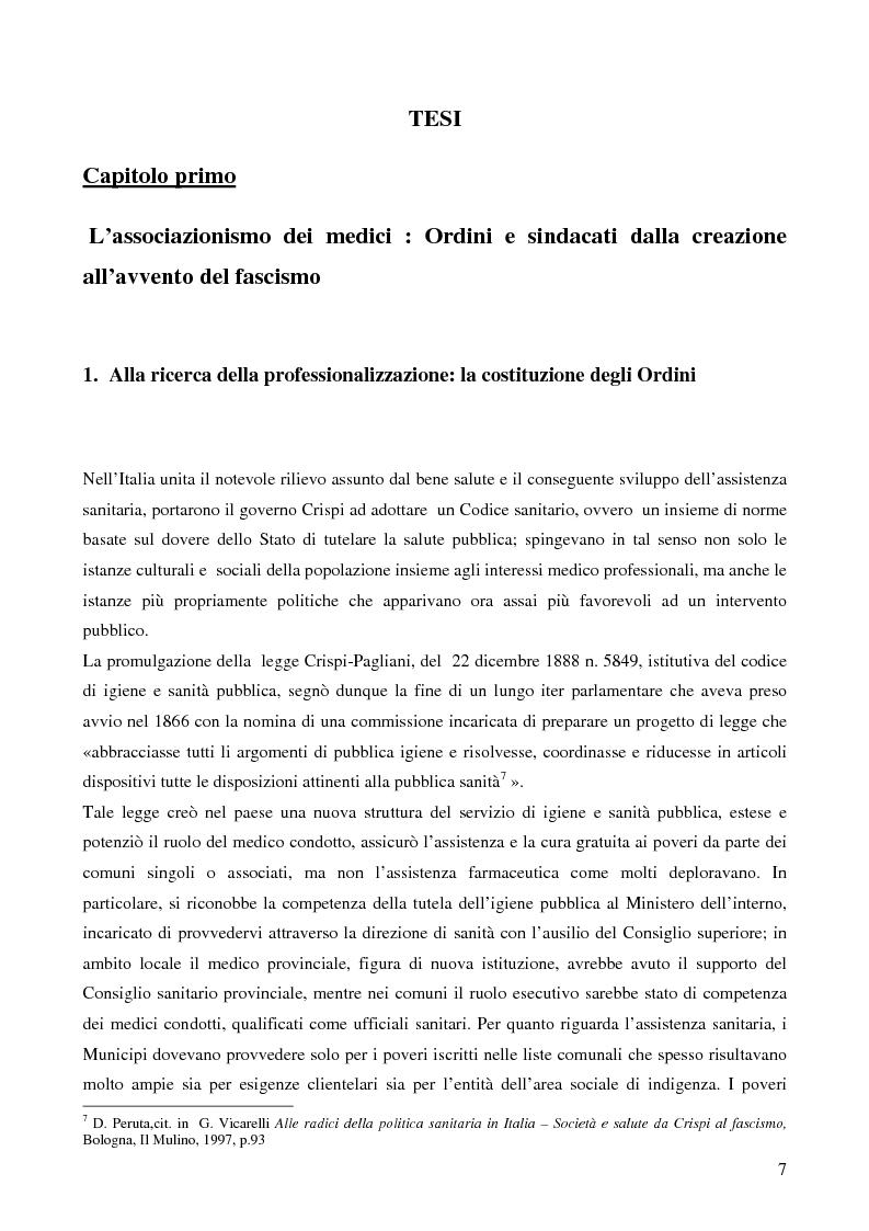 Anteprima della tesi: Organizzazione dei medici e politica sanitaria durante gli anni del fascismo attraverso i dibattiti nelle riviste mediche dell'epoca, Pagina 5