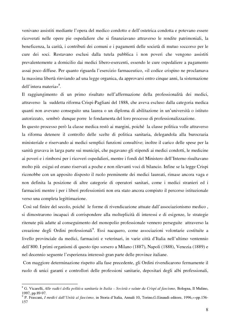 Anteprima della tesi: Organizzazione dei medici e politica sanitaria durante gli anni del fascismo attraverso i dibattiti nelle riviste mediche dell'epoca, Pagina 6