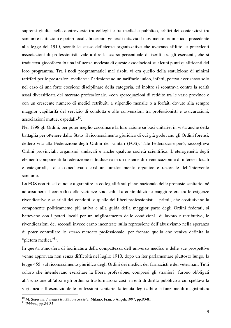 Anteprima della tesi: Organizzazione dei medici e politica sanitaria durante gli anni del fascismo attraverso i dibattiti nelle riviste mediche dell'epoca, Pagina 7