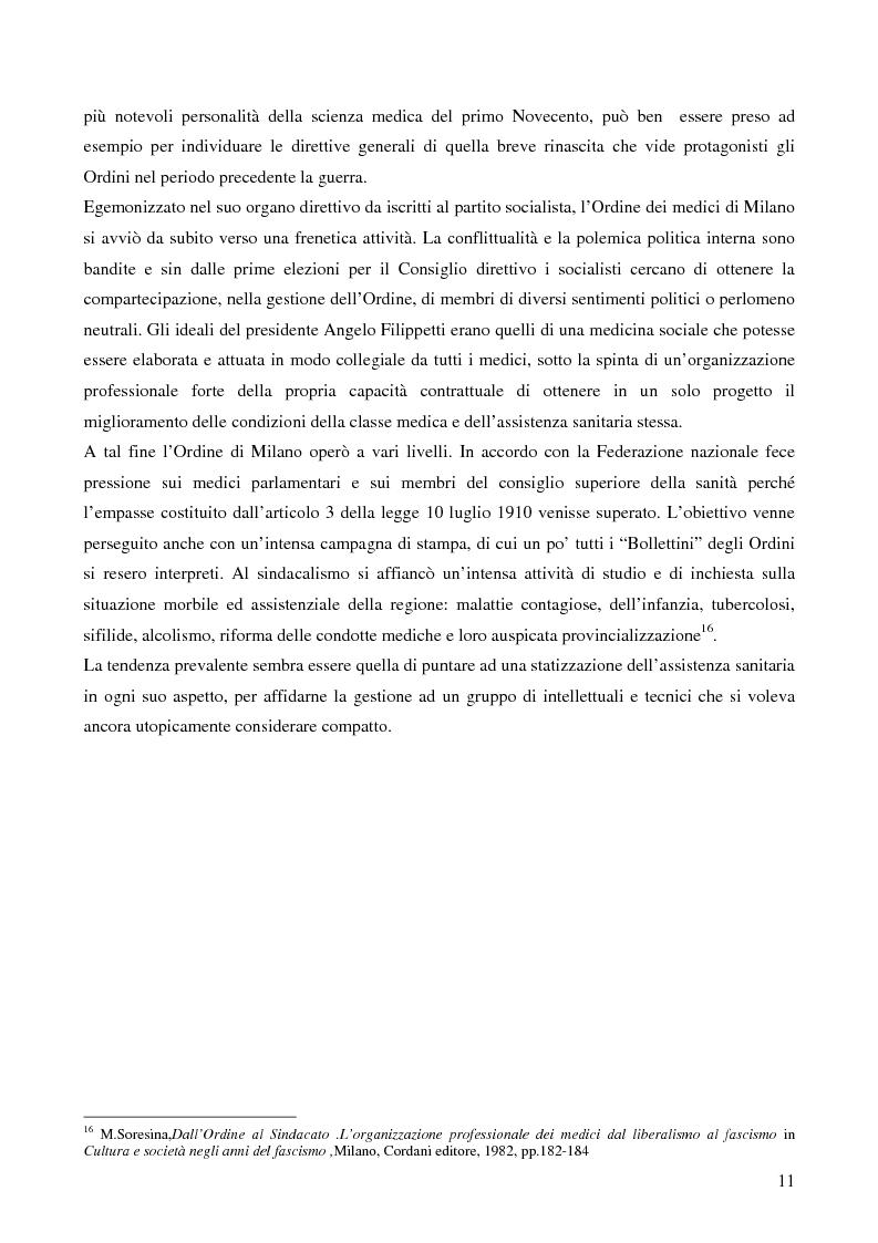 Anteprima della tesi: Organizzazione dei medici e politica sanitaria durante gli anni del fascismo attraverso i dibattiti nelle riviste mediche dell'epoca, Pagina 9