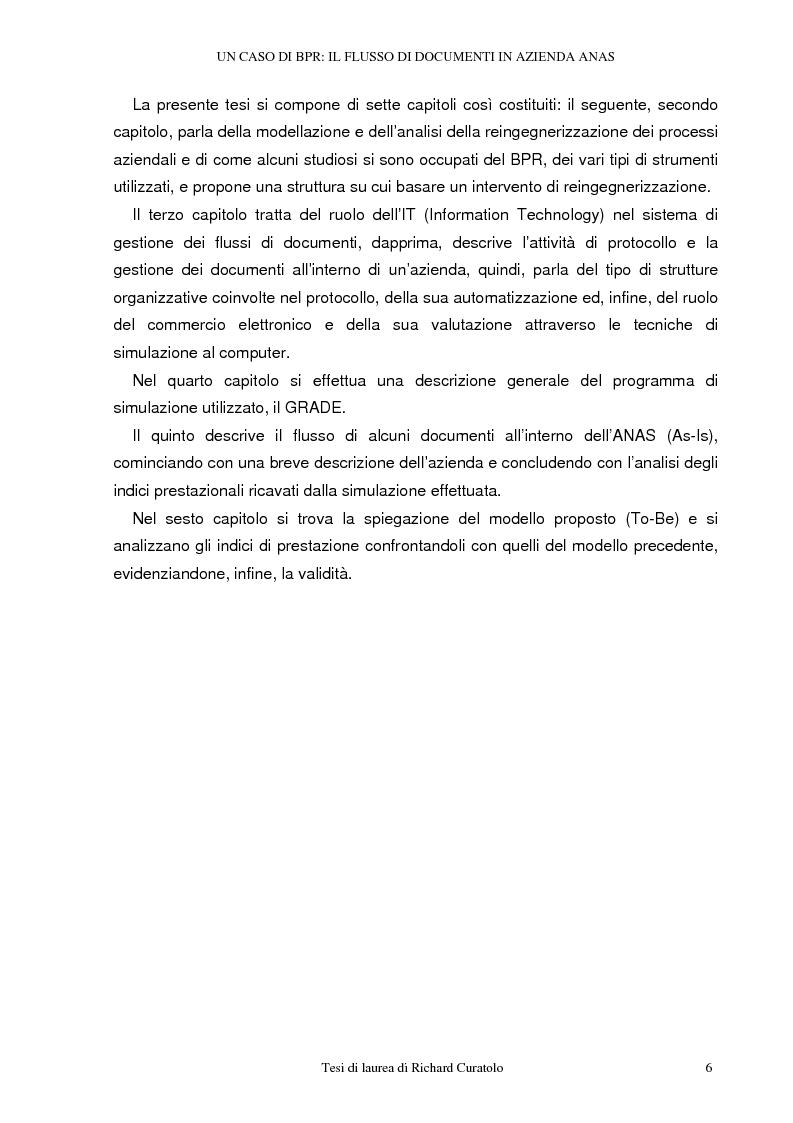 Anteprima della tesi: Un caso di business process reengineering: il flusso di documenti in azienda Anas, Pagina 2
