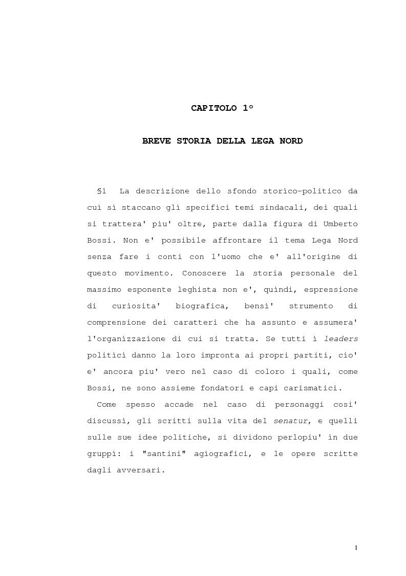 Anteprima della tesi: Lega Nord e problematiche sindacali, Pagina 6