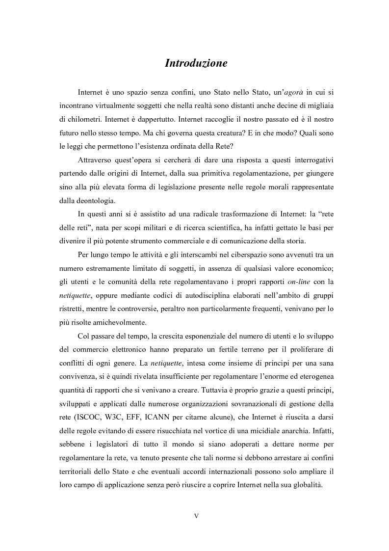 Anteprima della tesi: Le regole in Internet: netiquette, autoregolamentazione, deontologia, Pagina 1