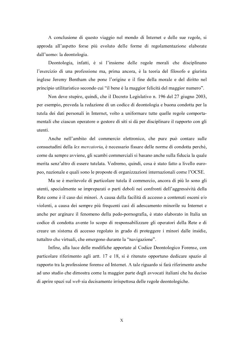 Anteprima della tesi: Le regole in Internet: netiquette, autoregolamentazione, deontologia, Pagina 6