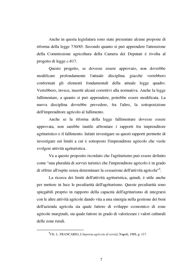Anteprima della tesi: Imprenditore agrituristico e fallimento, Pagina 7