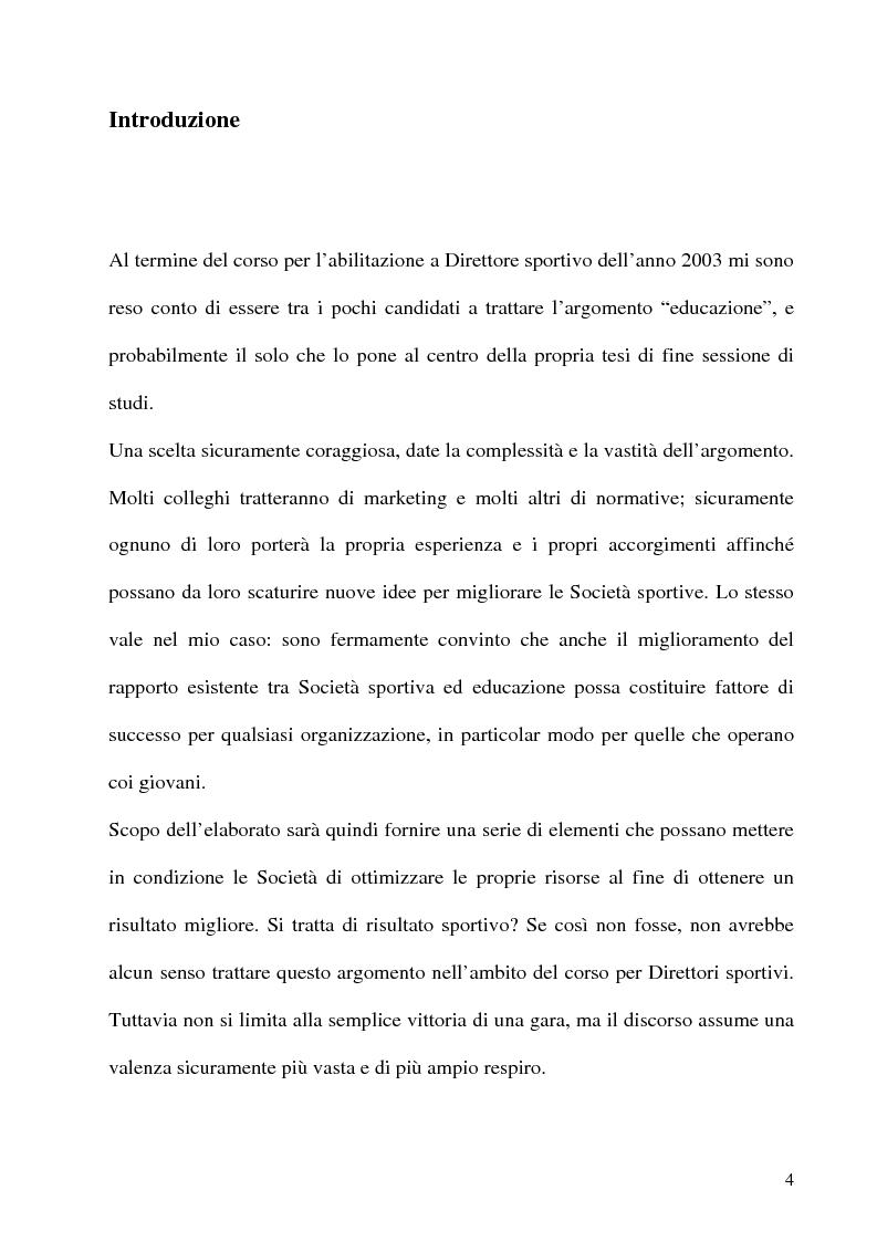 Anteprima della tesi: L'educazione al centro della formazione dei giovani calciatori, Pagina 1