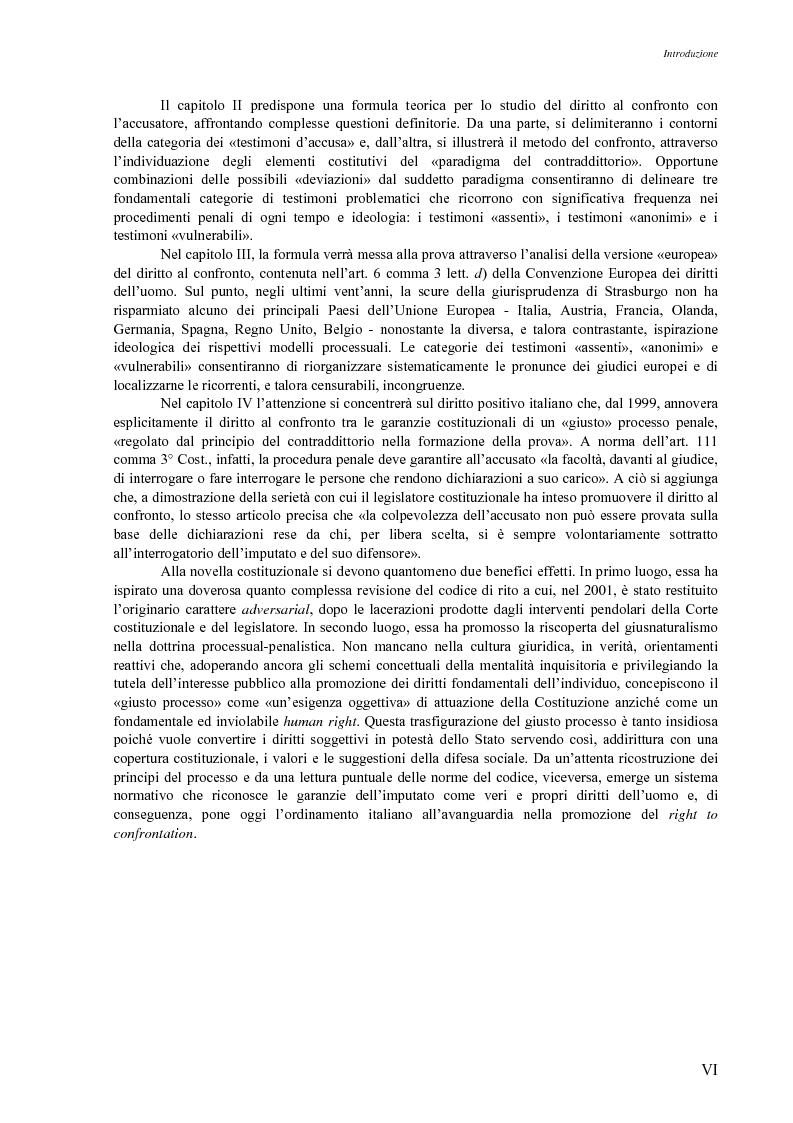 Anteprima della tesi: Giusto processo e diritto dell'imputato a confrontarsi con l'accusatore, Pagina 2