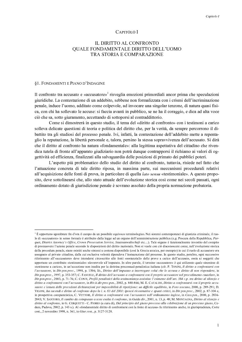 Anteprima della tesi: Giusto processo e diritto dell'imputato a confrontarsi con l'accusatore, Pagina 3