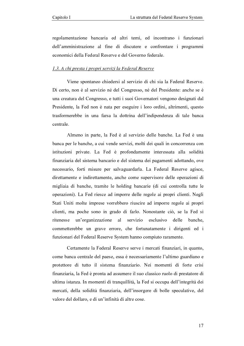 Anteprima della tesi: Il Federal Reserve System. Struttura, evoluzione e prospettive di cambiamento di una banca centrale indipendente, Pagina 12