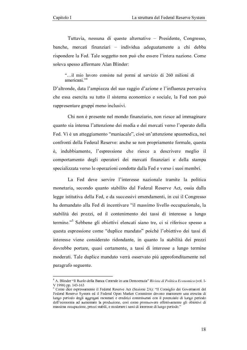 Anteprima della tesi: Il Federal Reserve System. Struttura, evoluzione e prospettive di cambiamento di una banca centrale indipendente, Pagina 13