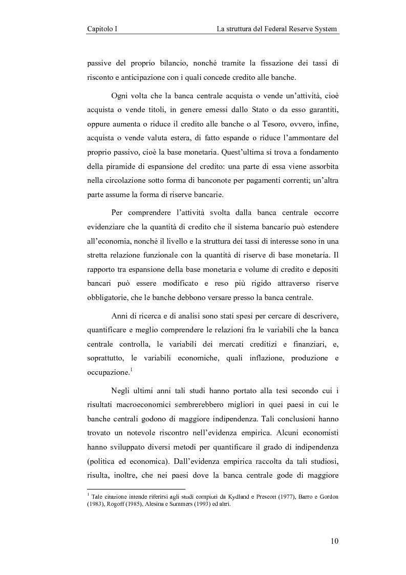 Anteprima della tesi: Il Federal Reserve System. Struttura, evoluzione e prospettive di cambiamento di una banca centrale indipendente, Pagina 5