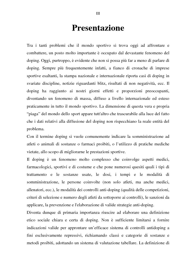 Anteprima della tesi: Costruzione etico-sociale del doping tra scienza e diritto, Pagina 1