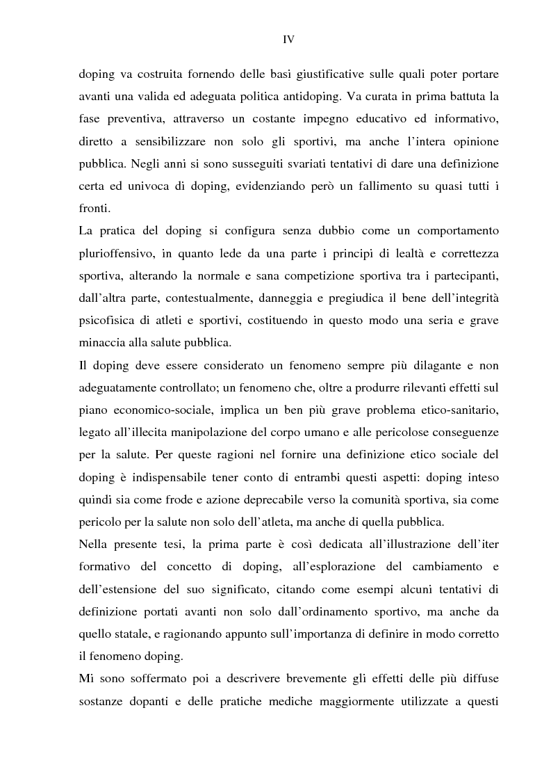 Anteprima della tesi: Costruzione etico-sociale del doping tra scienza e diritto, Pagina 2