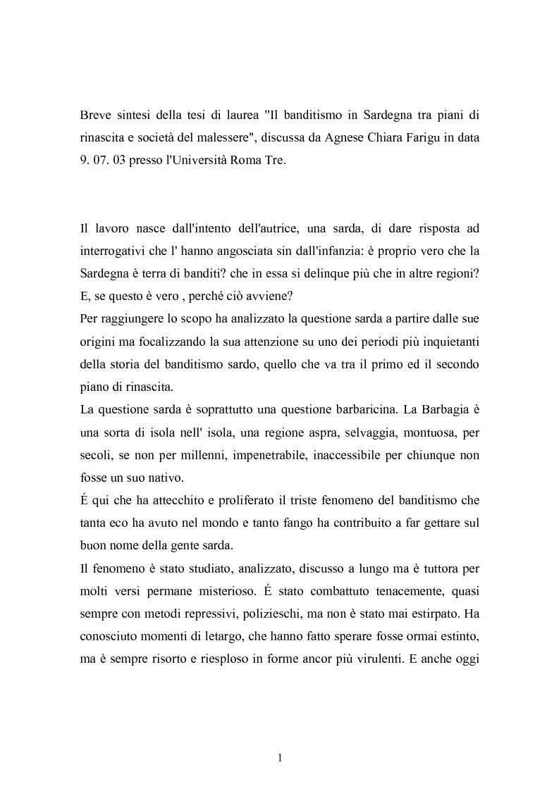 Anteprima della tesi: Il banditismo in Sardegna tra progetti di rinascita e società del malessere, Pagina 1