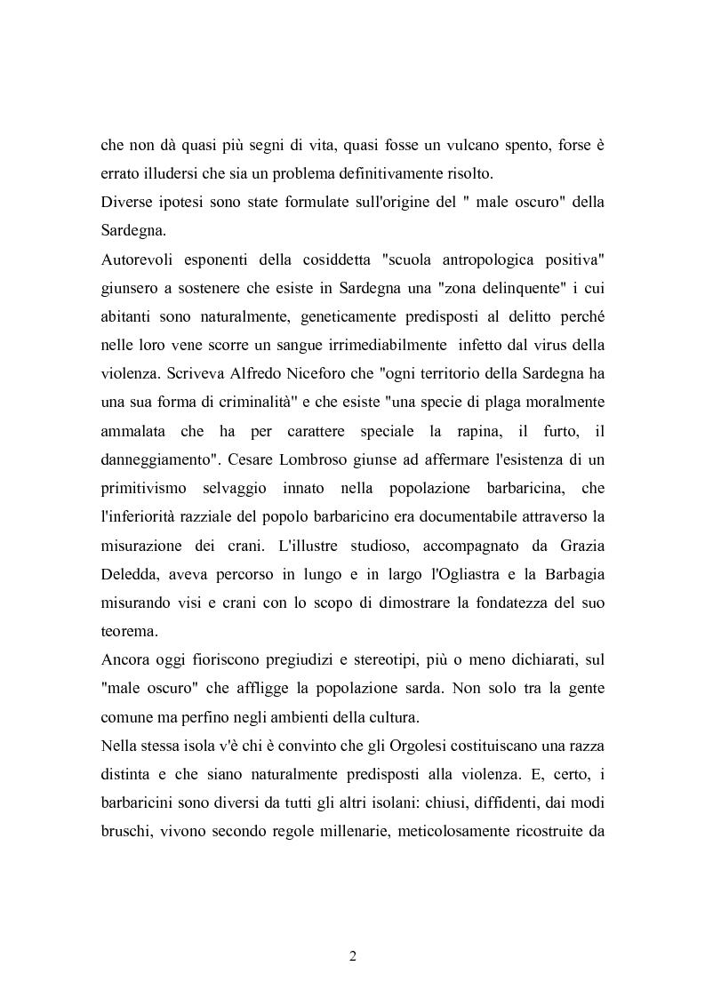 Anteprima della tesi: Il banditismo in Sardegna tra progetti di rinascita e società del malessere, Pagina 2