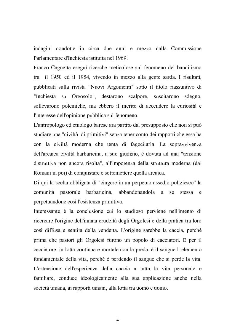 Anteprima della tesi: Il banditismo in Sardegna tra progetti di rinascita e società del malessere, Pagina 4