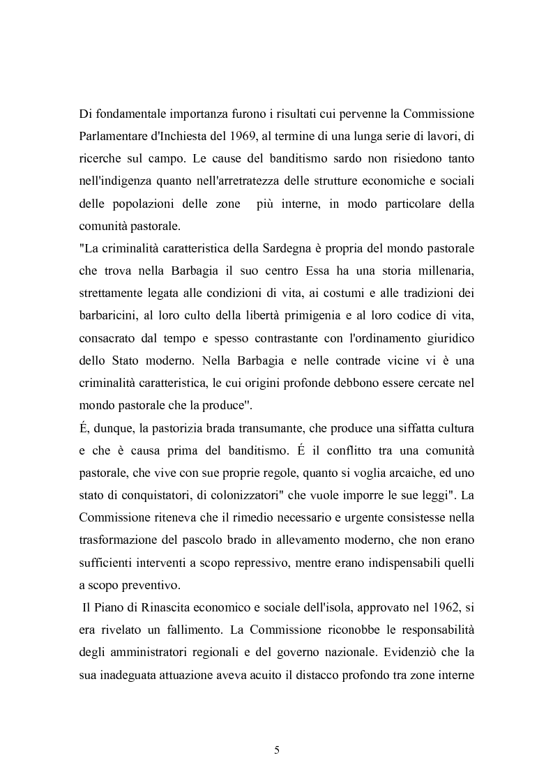 Anteprima della tesi: Il banditismo in Sardegna tra progetti di rinascita e società del malessere, Pagina 5