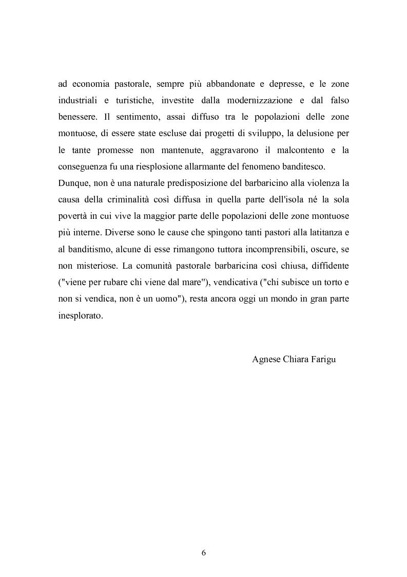 Anteprima della tesi: Il banditismo in Sardegna tra progetti di rinascita e società del malessere, Pagina 6