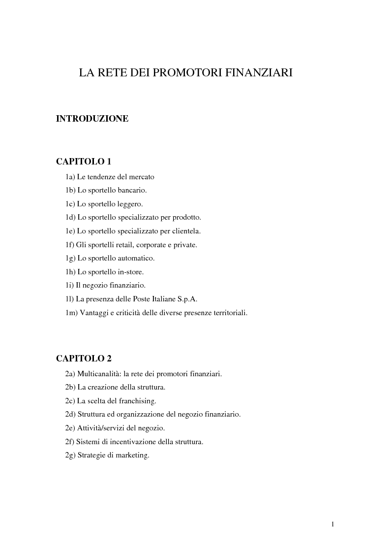 Indice della tesi: La rete dei promotori finanziari, Pagina 1