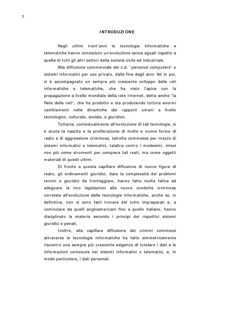 Anteprima della tesi: L'accesso abusivo a sistemi informatici o telematici con particolare riferimento alla tutela dei dati personali, Pagina 1