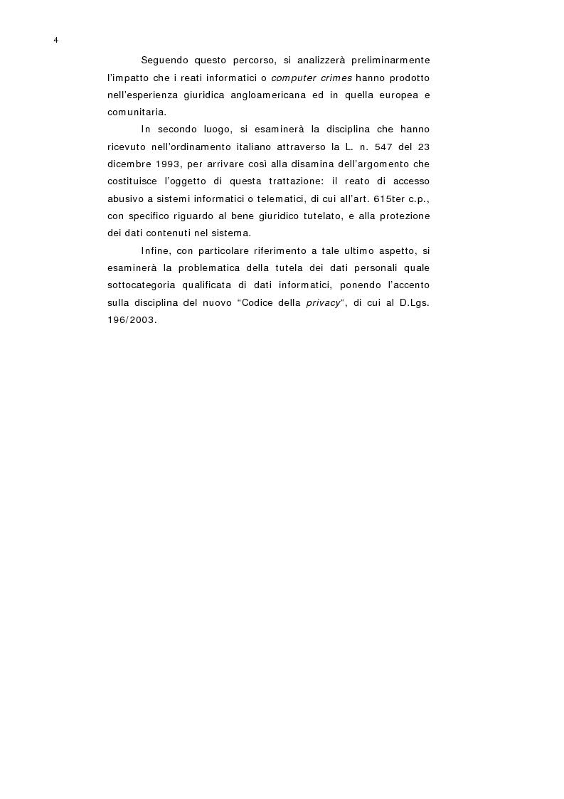 Anteprima della tesi: L'accesso abusivo a sistemi informatici o telematici con particolare riferimento alla tutela dei dati personali, Pagina 2
