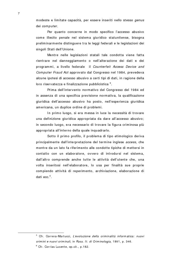 Anteprima della tesi: L'accesso abusivo a sistemi informatici o telematici con particolare riferimento alla tutela dei dati personali, Pagina 5